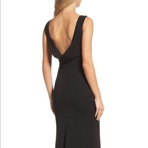 LuLu's Elegant Drape Back Trumpet Gown Black